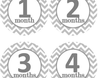 Baby Monthly Milestone Growth Stickers Grey Chevron MS104 Baby Boy Baby Girl Theme Baby Shower Gift Baby Photo Prop