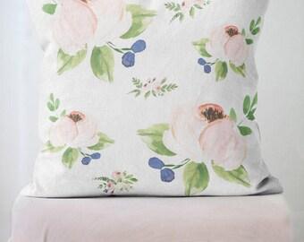 floral pillow cover spring decor floral decor pillow blush rose ava pillow