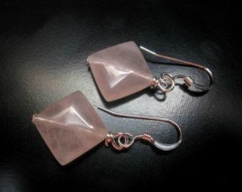 Rose Quartz Diamond Earrings, Rose Quartz Diamond Beads, Sterling Silver, Pink Earrings, Rose Quartz Jewelry, Rose Quartz Sterling Silver