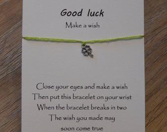 Good luck wish bracelet with 4 leaf clover charm