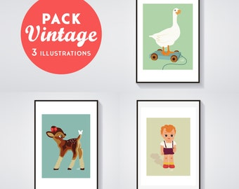 Print - Pack of 3 Posters VINTAGE - George the doll, Bambinette & Léonie the goose - Poster / Illustration