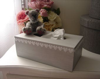 White weathered gray wood and wool felted Teddy bear tissue box