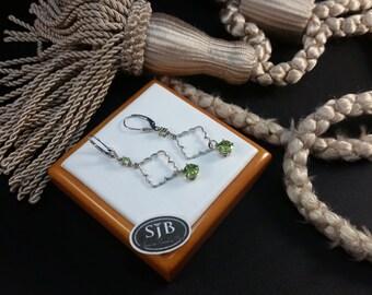 Peridot Earrings, 14k Peridot Drop Earrings, 14k White Gold Peridot Drop Leverback Earrings, August Birthstones, Green Stone Earrings, #E761