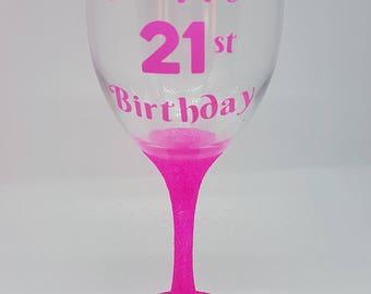 21st Birthday Glitter Wine Glass, Perfect Birthday Gift, Present, 18th, 21st, 30th Birthday