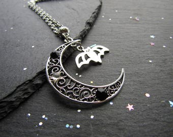 Bat and Moon Crescent Necklace with black crystals, Bat Necklace, Moon Necklace, Goth Necklace, Bat Jewellery, Gothic Jewelry, Moon Crescent