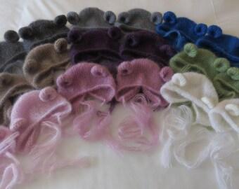 Hand Knitted Newborn Teddy Bear Hat Kidsilk Mohair Photo Prop