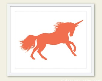 Unicorn Print - Coral Unicorn Art Print - Unicorn Wall Art - 8x10 - Unicorn Art - Nursery Decor - Aldari Art