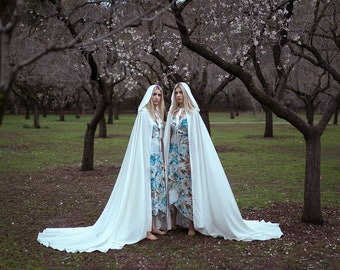 Wedding cape bridal cloak natural white ivory satin cape with hood handfasting