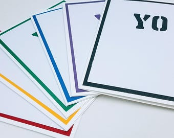 YO note cards, set of six (rainbow colors)