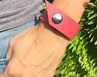 Pink Leather Bracelet, Pink Leather Cuff, Boho Bracelet, Boho Cuff, Statement Cuff, Modern Bracelet, Pink Cuff, Pink Bracelet, Gift for Her