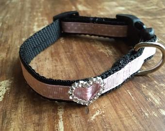 XS Dog Collar, cute pink dog collar, rhinestone dog collar, dog collar for girl, heart dog collar, rhinestone heart, fancy dog collar