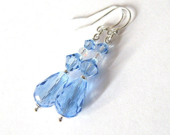 Pastel Blue Crystal Drop Earrings, Sterling Silver and Light Sapphire Swarovski Crystal, Ear Wire Options