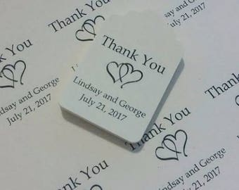 Custom Wedding Tags Double Heart Design, Favor Tags, Thank you Tags, Gift Tag, Personalized Wedding Tags