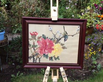 Silk Painting Bird on Branch with Blooms