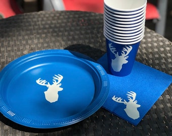 Custom Deer Plates, Napkins, Cups