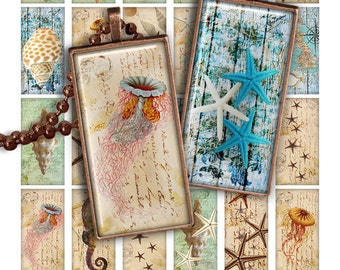 "75% OFF SALE Digital collage sheet Sea Life 1x2"" Domino Image PR008 Printable Download 1x2 inch Rectangle Glass Pendant Resin Digital Image"