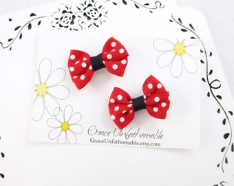 Mini Red Bows, 2 Inch Red Polka Dot Hair Bows, Small Red Black Bows, Red Hair Clips, Polka Dot Bows, Red Toddler Bows, Small Hair Bows