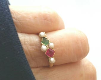 14k Victorian emerald ruby pearl ring