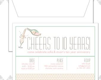 Modern Anniversary Party Invitation, 10 Year Anniversary, Cheers to ten Years, Cheers Party Invite, Champagne Anniversary Invitation