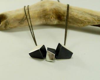 Sterling Silver Triple Asymmetrical Box Necklace