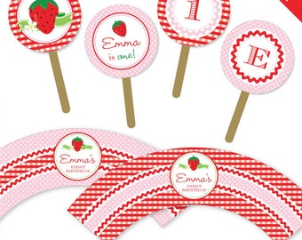 Strawberry party - Personalized DIY printable cupcake wrapper and topper set