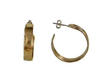 Gold wide hoop, silver solid hoop, 3 cms hoop, hammered hoop, wide earrings, fat studs, creole hoops, artisan earrings, designer jewelry
