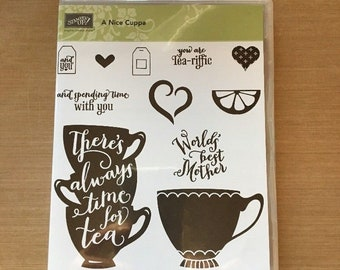 Stampin up A nice cuppa  photopolymer  stamp set & MATCHING FRAMELITS