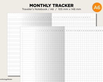 A6 Size Monthly Tracker Grid - Printable Traveler's Notebook Planner Insert