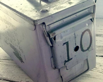 Vintage Industrial Metal Box, Military Ammunition Box, Grey color, Storage Box, Ammo Box, Army Hinged Container, Camping Accessory