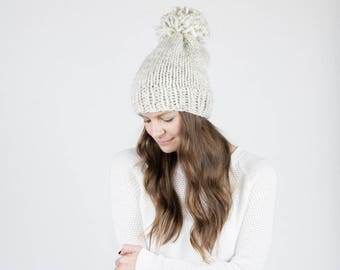 Chunky Knit hat, Slouchy Hat With Pom Pom / THE PERMAFROST / Wheat