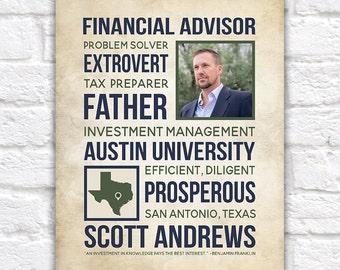 Career Gift, Financial Advisor Gift, Personalized Gifts for Men, Boss, Retirement Gift, Gift for Husband, Father, Fathers Day   WF151