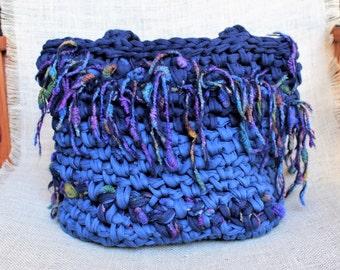 Boho fringe bag, Chunky knit bag, Fringe purse, Crochet purse, Bucket bag, Hippie bag, Festival bag, Purse with fringe, Crochet boho purse