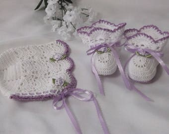 Handmade, Hand Crocheted Baby Bonnet/Booties set for newborn baby or doll.  White with lavender ribbons and roses.  Perfect for Easter.