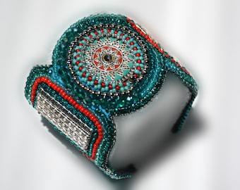 Seed bead cuff bracelet