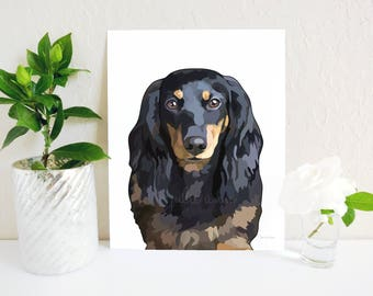 Long Haired Dachshund Art Print, Doxie Art, Dachshund Decor, Doxie Decor, Dog Decor, Dachshund, Wiener Dog, Dog Wall Art, Dog Lover Gift