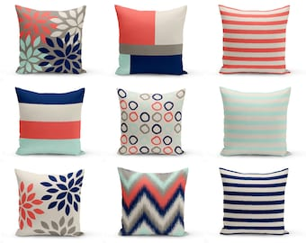 Outdoor Pillows, Coral Beige Aqua Navy Grey, Outdoor Home Decor, Outdoor Throw Pillows