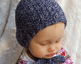 Baby Pixie Bonnet in Marled Blue