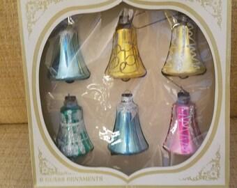 Vintage, winter, snow, Christmas, ornaments, SHINY BRITE, set of 6, glass