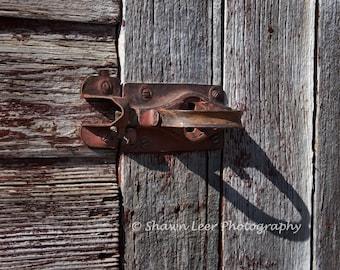 Red Rustic Barn Door Handle