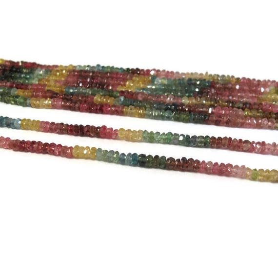 Multi Tourmaline Beads, 7 Inch Strand of Multi Color Faceted Rondelles, 3mm Natural Gemstones for Making Jewelry (R-Tou4)