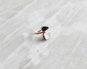 Black Tourmaline and Quartz Ring, Raw Jewelry, Raw Tourmaline, Rose Gold Ring