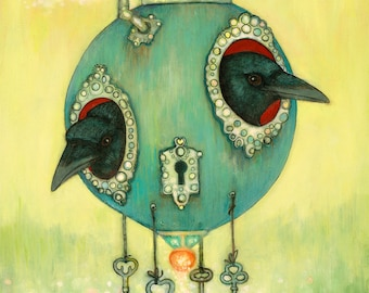 two crows peeking out of a round floating house bird art PRINT no. 43 c-print 8 x 10