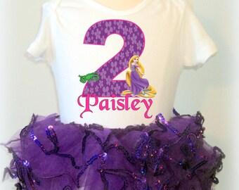 Tangled Birthday Tutu, Rapunzel Birthday Tutu Outfit, Tangled Tutu Set