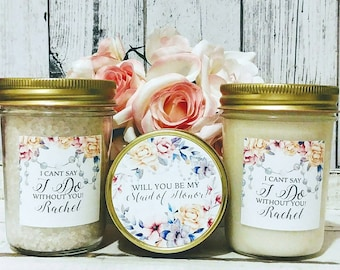 Bridesmaid Gift Set - Maid Of Honor Gift Set - Personalized Bridesmaid Gift - Will You Be My Bridesmaid gift set - Bridesmaids Candles