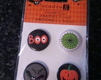 Halloween Flair buttons - adhesive backs scrapbook embellishment craft supplies, boo, spider web, jack-o-lantern, bats
