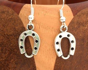 Earrings Horseshoe, lucky silver aged