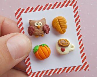 Owl Earrings Set - Pumpkin Earrings - Pumpkin Earrings - Leaf Earrings - Owl Earrings Gift -