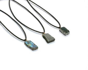 Labradorite Slab Pendant, Labradorite Necklace, Gray Cord Necklace, Boho Necklace