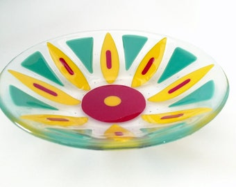 Fused Glass Flower Bowl, Fused Glass Dish, Fruit Bowl, Decorative  Bowl, Serving Bowl, Red and Yellow Bowl, Mothers Day Gift, Housewarming
