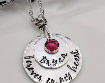 Forever In My Heart - Personalized Memorial Necklace - Remembrance Jewelry - In Memory Of Necklace - Grief Gift - Loss of Spouse -